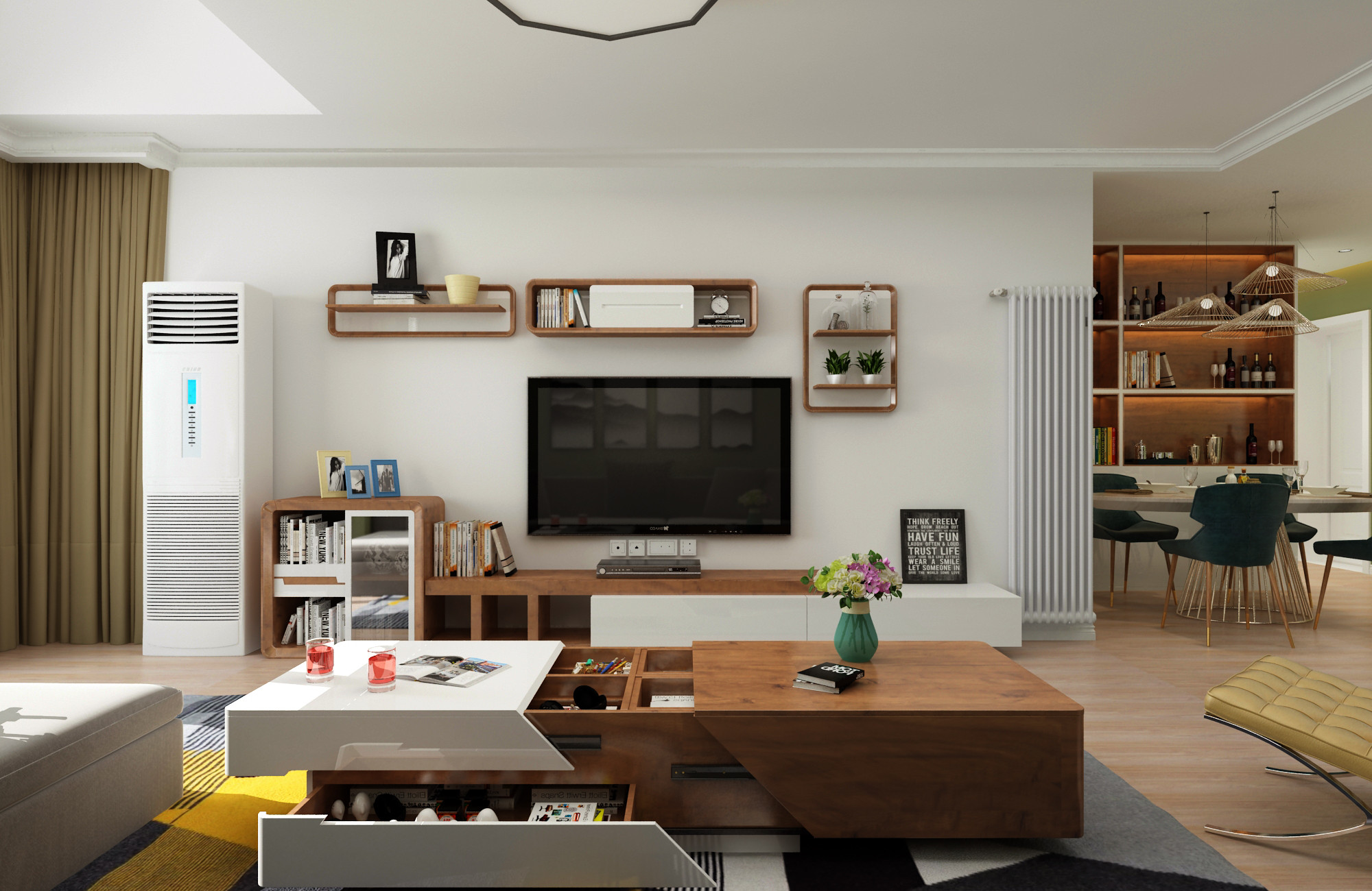 三居室现代简约之家电视背景墙图片