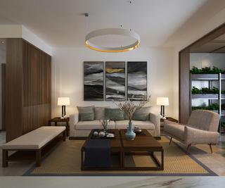 130平中式装修沙发背景墙图片