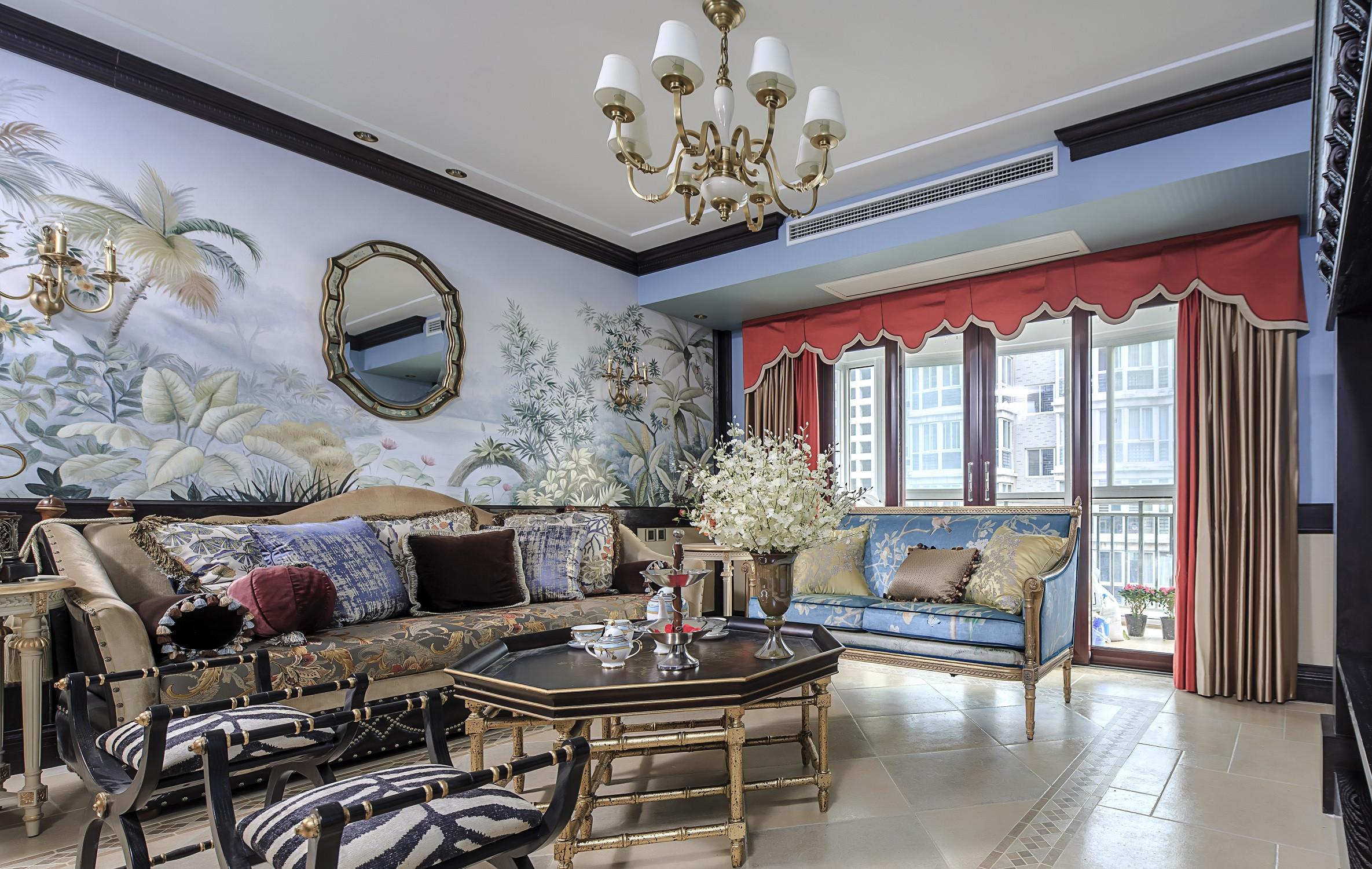 混搭三居装修沙发背景墙图片