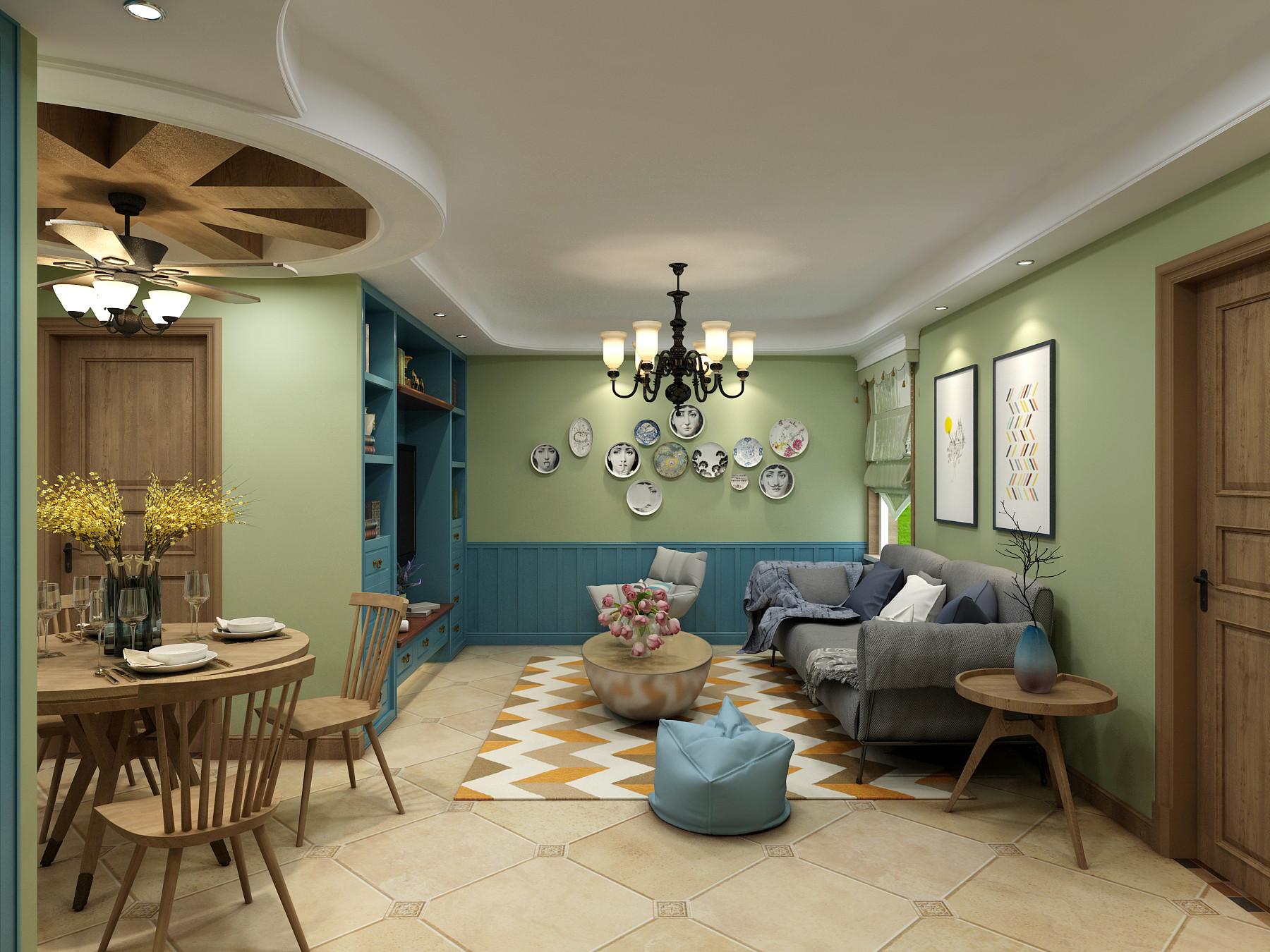 三居室田园风格家客厅效果图