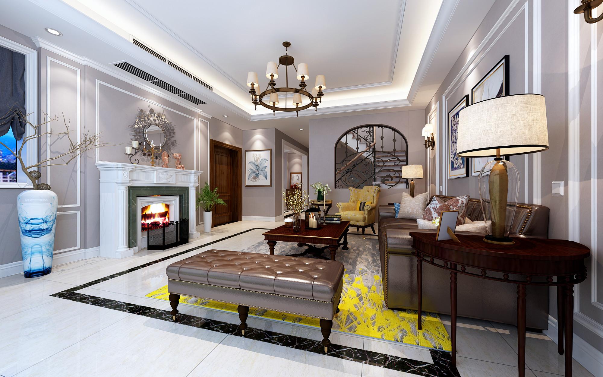 温馨美式别墅装修客厅设计效果图