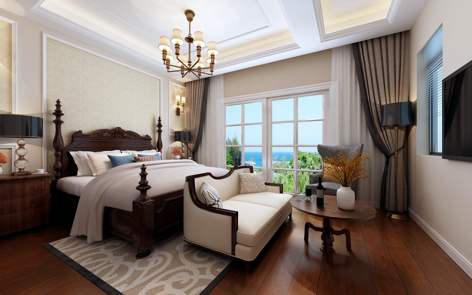 温馨美式别墅装修主卧布置图