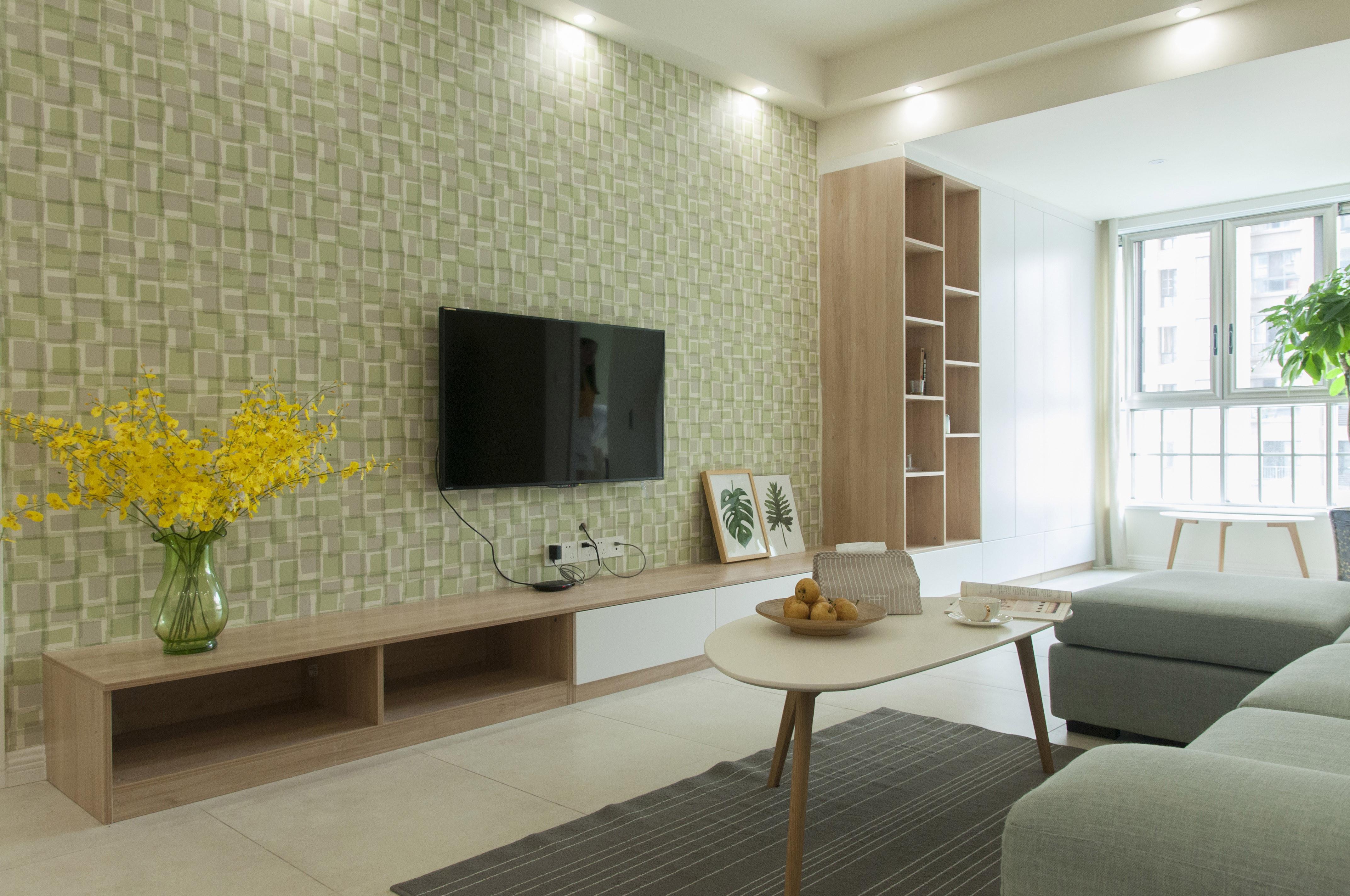 三居室北欧风格家电视背景墙图片