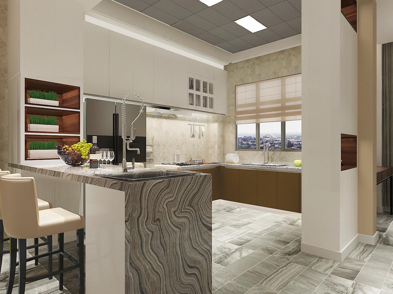 现代简约三居之家厨房效果图
