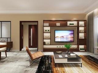 现代简约三居之家电视墙设计图