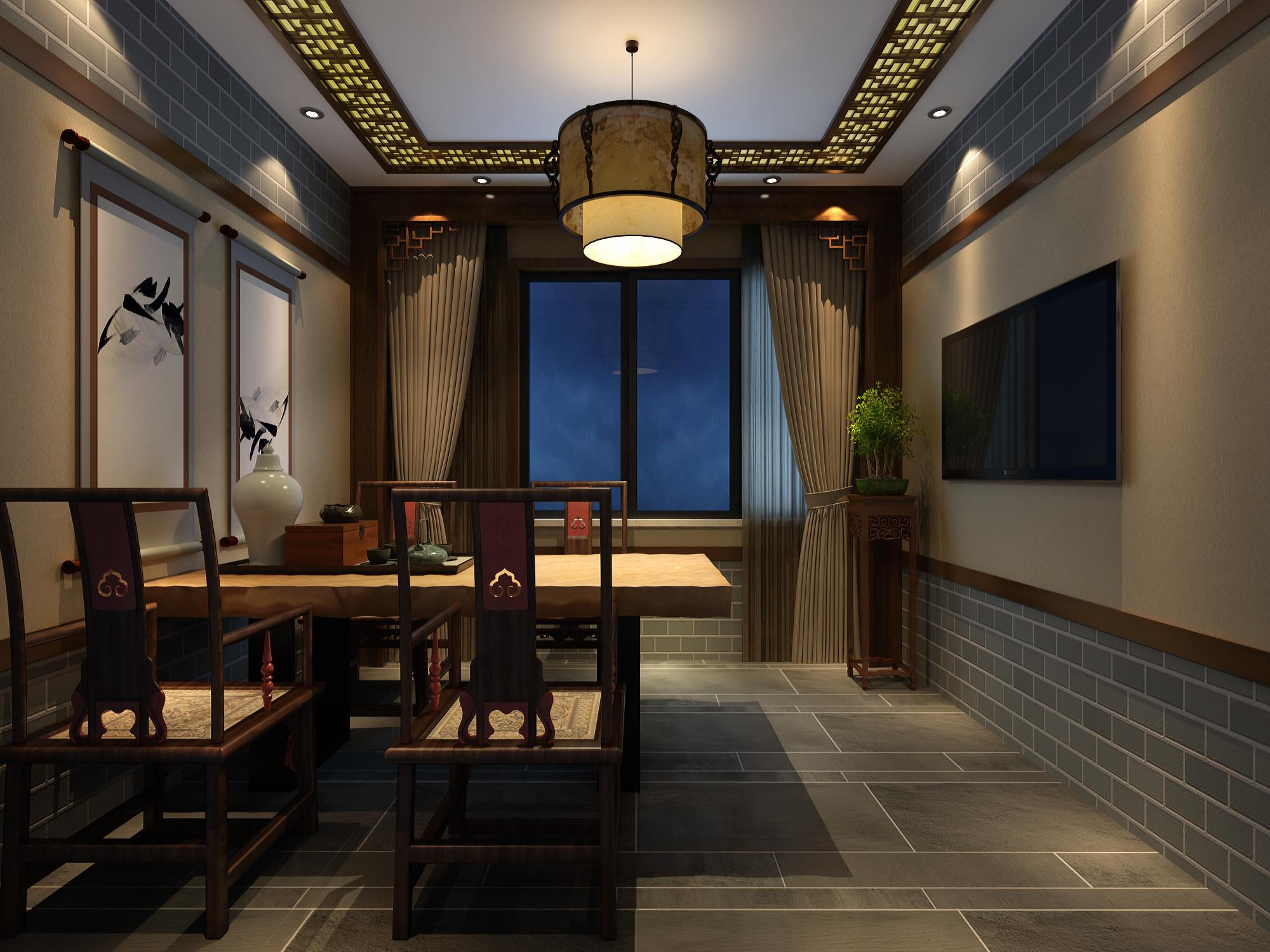 中式优雅茶室装修效果图