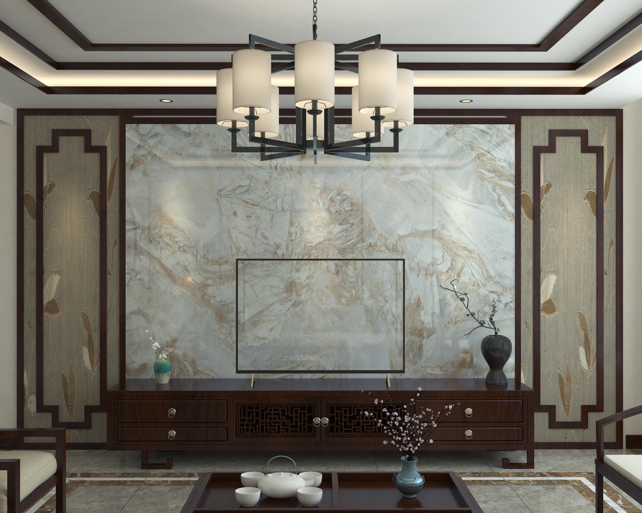 大户型中式装修设计电视背景墙图片