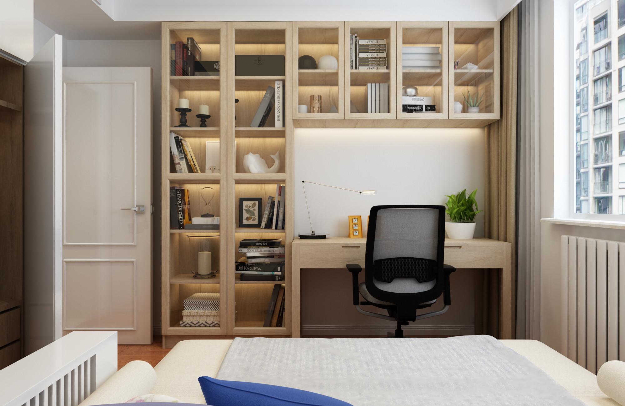 北欧二居装修书柜图片