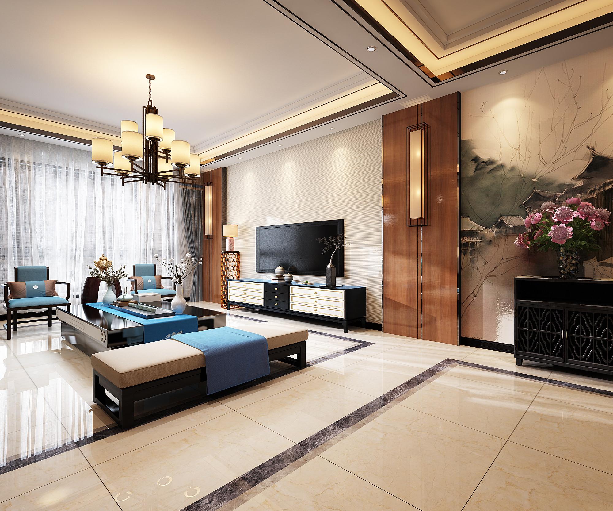 140平米中式风格电视背景墙装修效果图