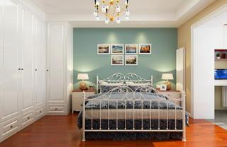 63平二居室混搭装修床头背景墙图片
