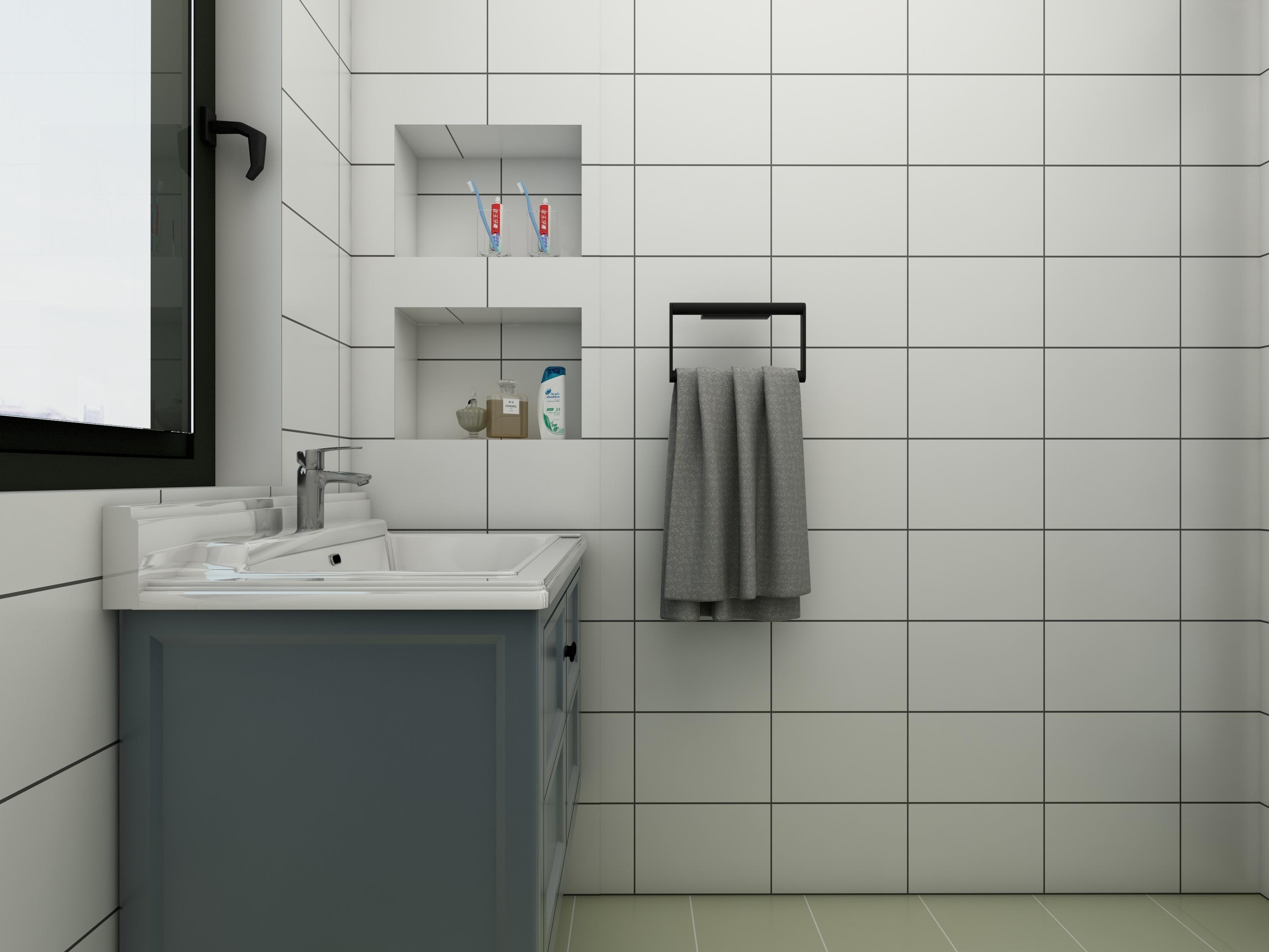 80平三居室空间卫生间一角