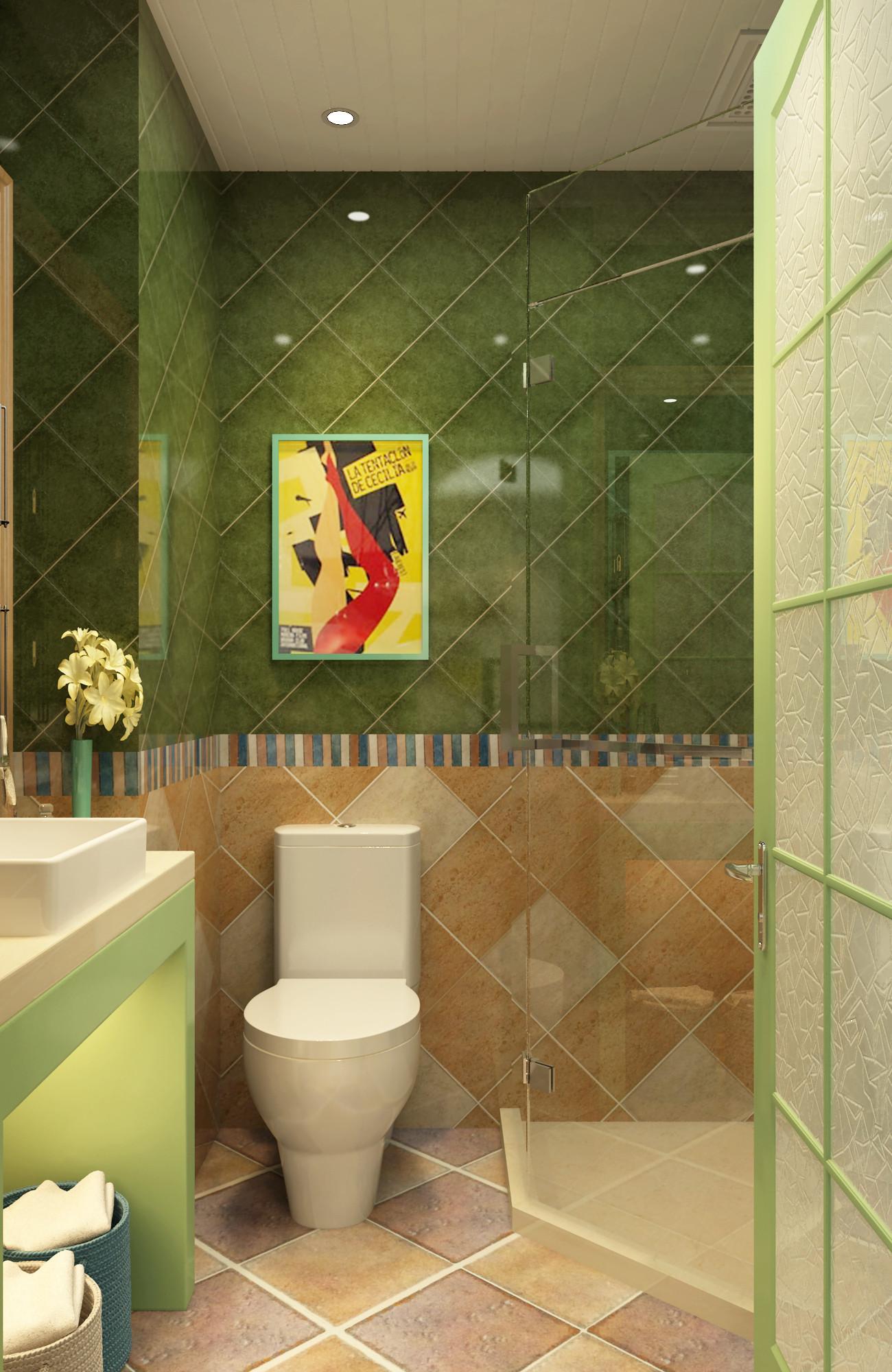 二居室美式田园家卫生间装潢图