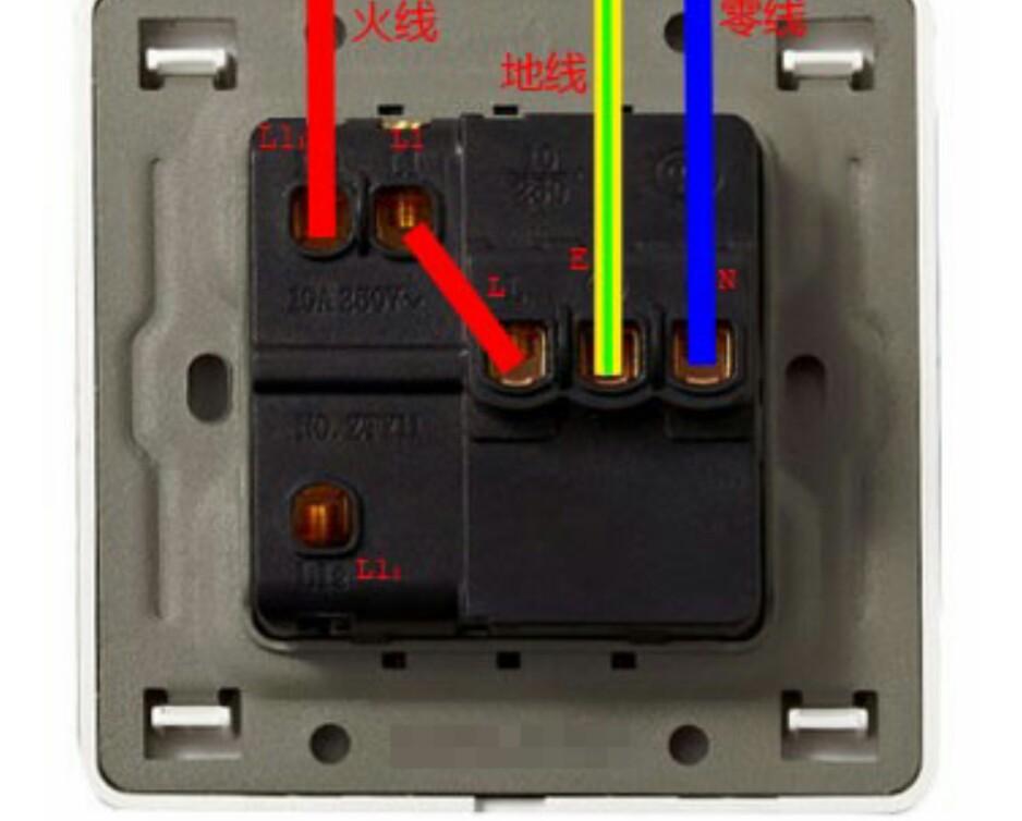 """零线接插座n 接线柱,地线接插座e(一竖三横符号) 接线柱 ; 2,开关""""开"""