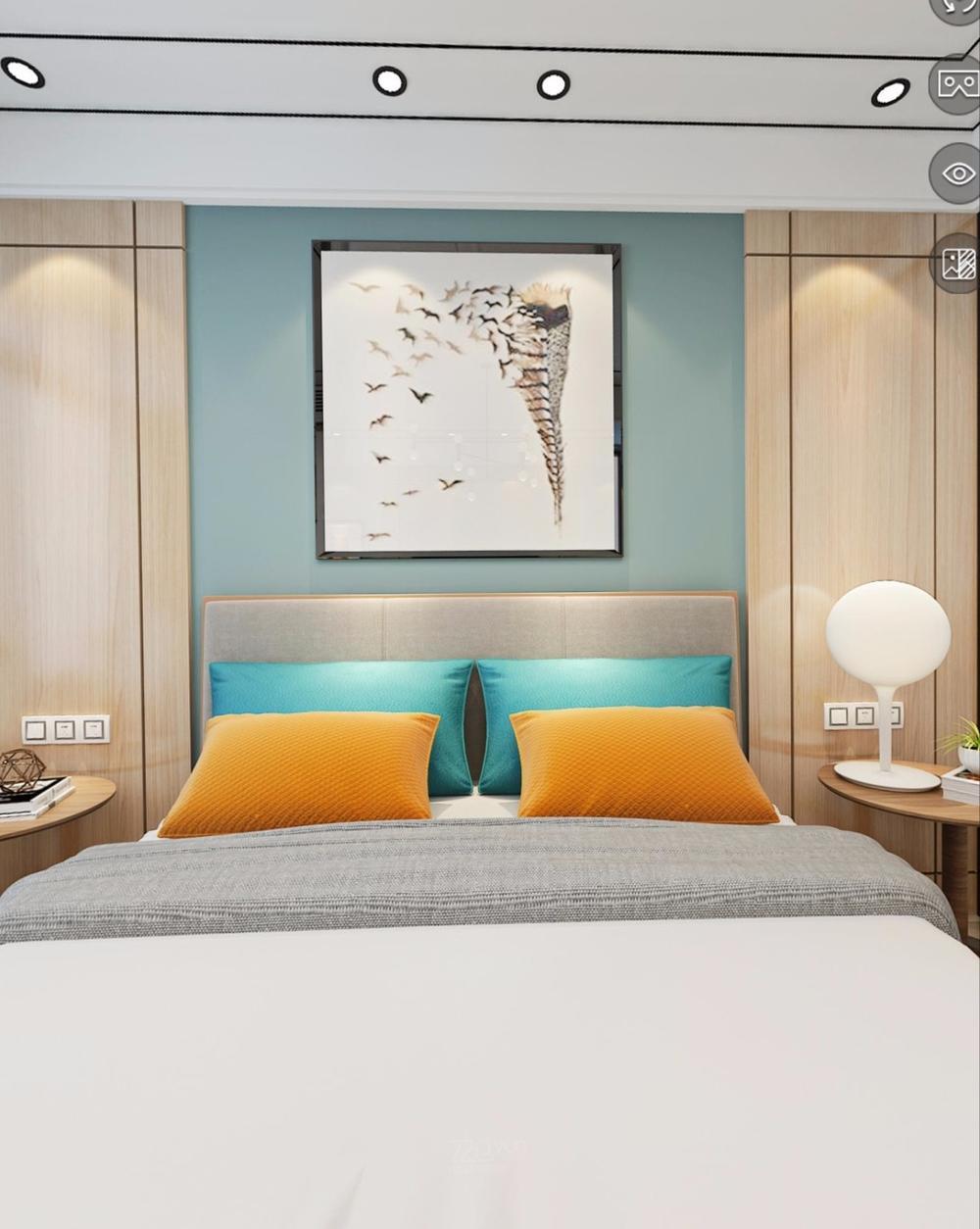 床头背景,原木搭配蓝灰色的乳胶漆,清新