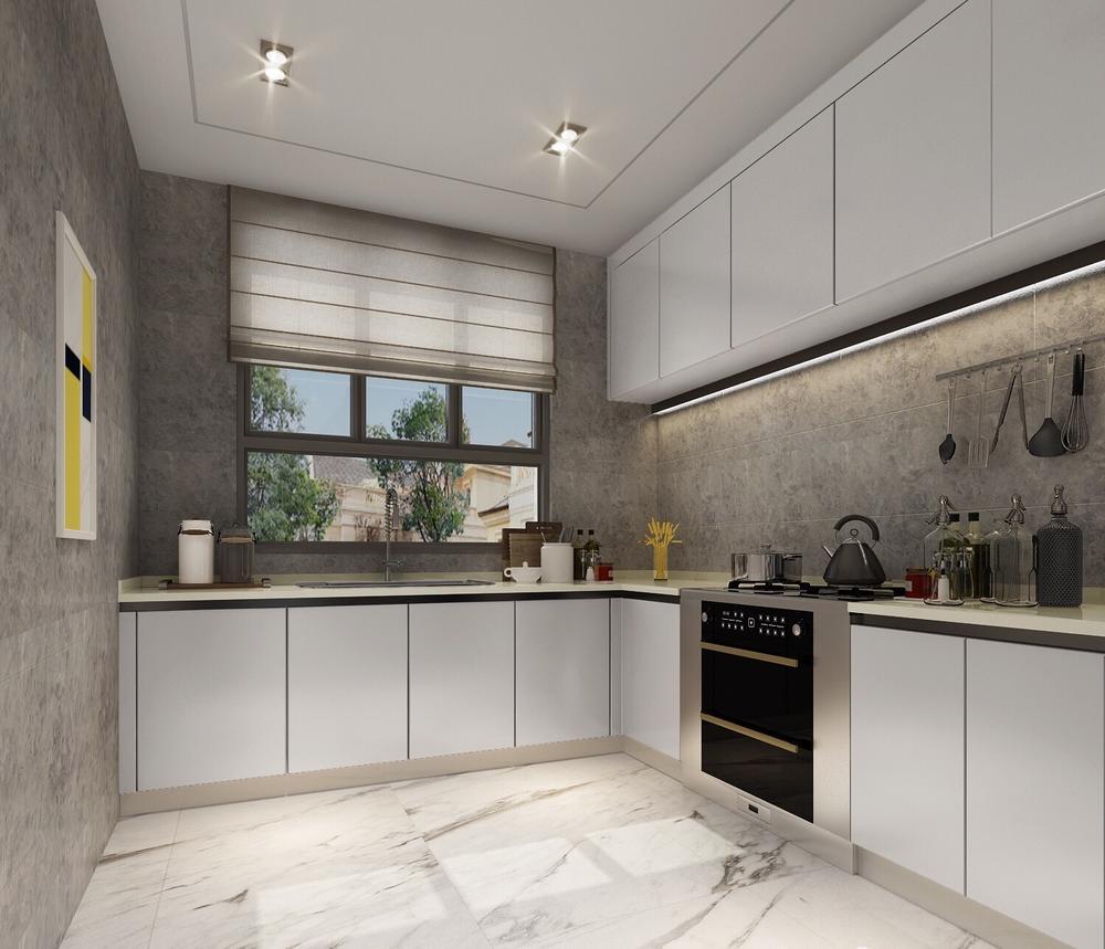 厨房做了l型橱柜在满足功能需求的同时加了灯带,墙地面