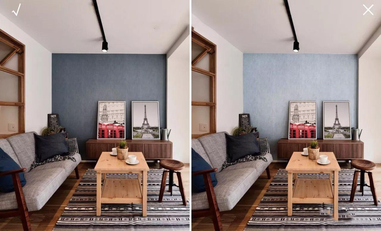 如果我们将图中的墙面颜色变浅,会发现不如原来的深色墙面和谐,木头图片