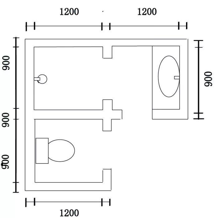 三分離如果按照長方形來算,淋浴區,馬桶間與洗手臺算下來,加上中間圖片