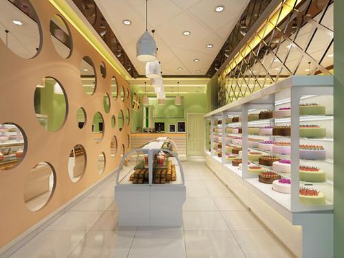 如:西点展示区,散点裱花蛋糕展示区,收银吧台,裱花操作间,现烤区,休闲