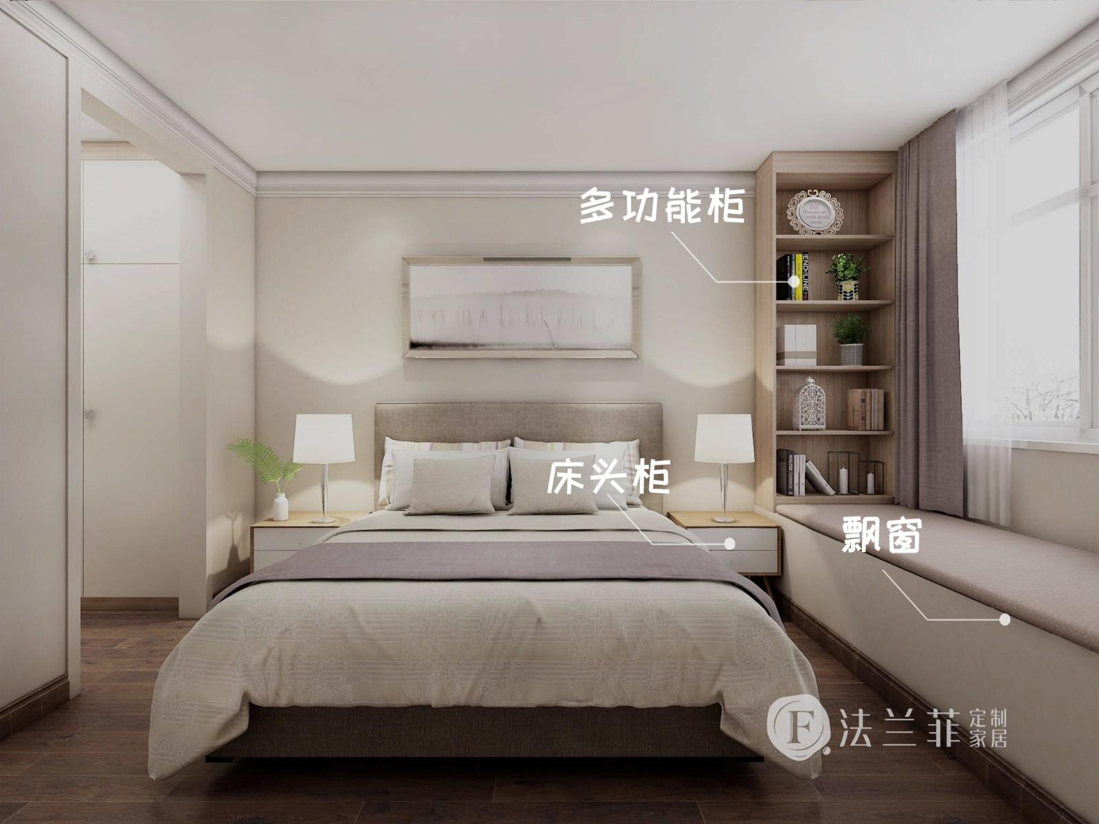 以合原木色柜体为主配合简白门板,摒弃过多的复杂装饰,用绿植妆点房间