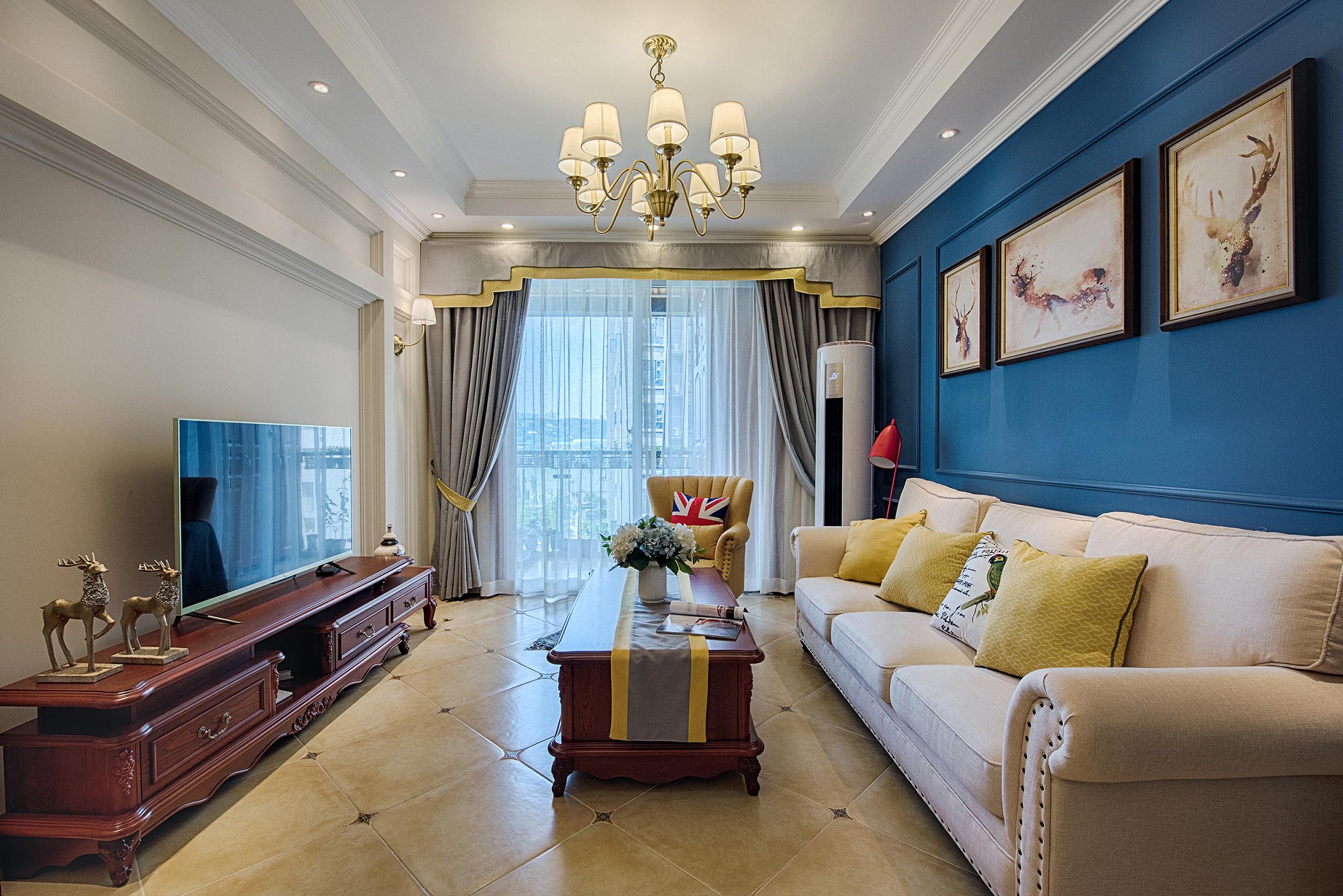 美式乡村风格客厅公寓白色地毯10-15万70平米三室一厅装修效果图