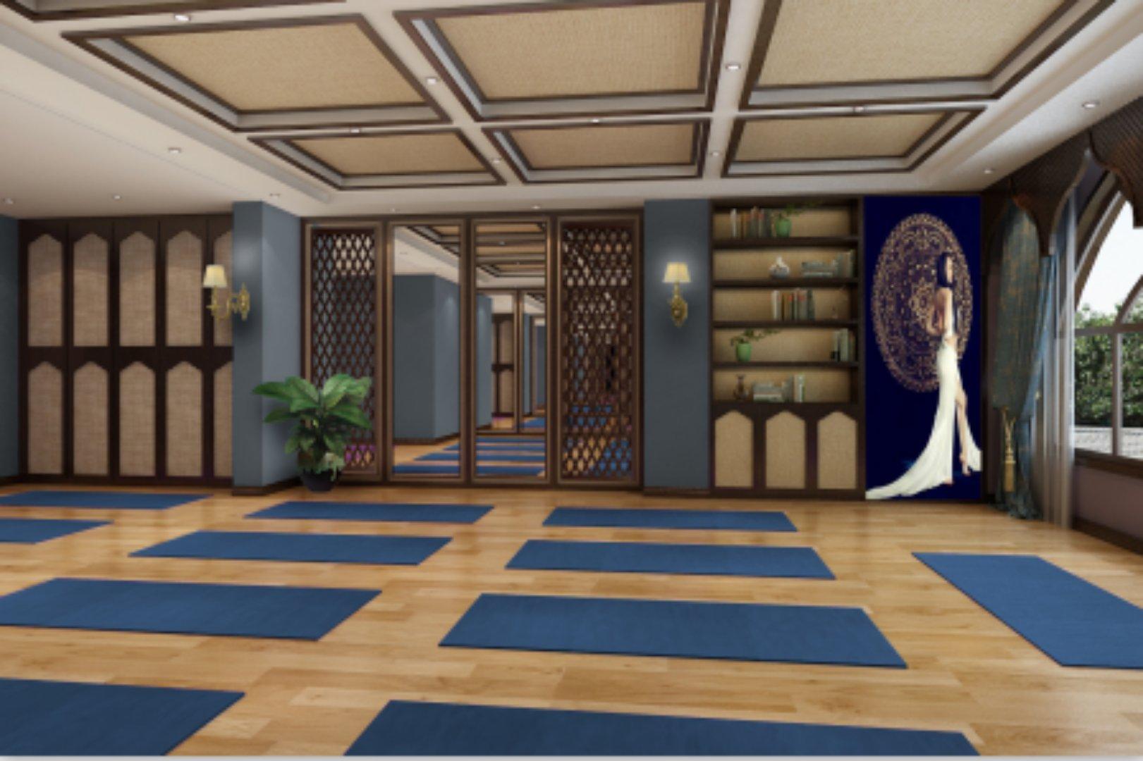 东南亚风格瑜伽馆装修瑜伽房墙面设计图片
