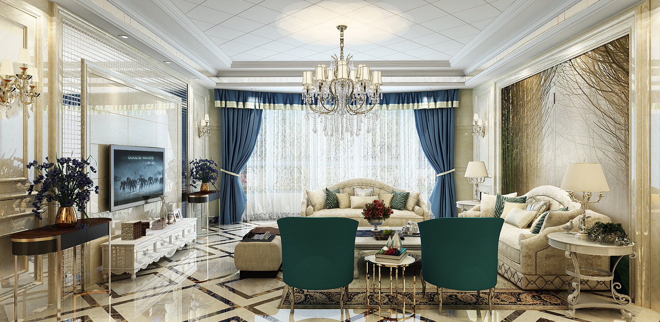 豪华欧式客厅装修效果图,豪华欧式客厅装修效果图案例_2018装修效果