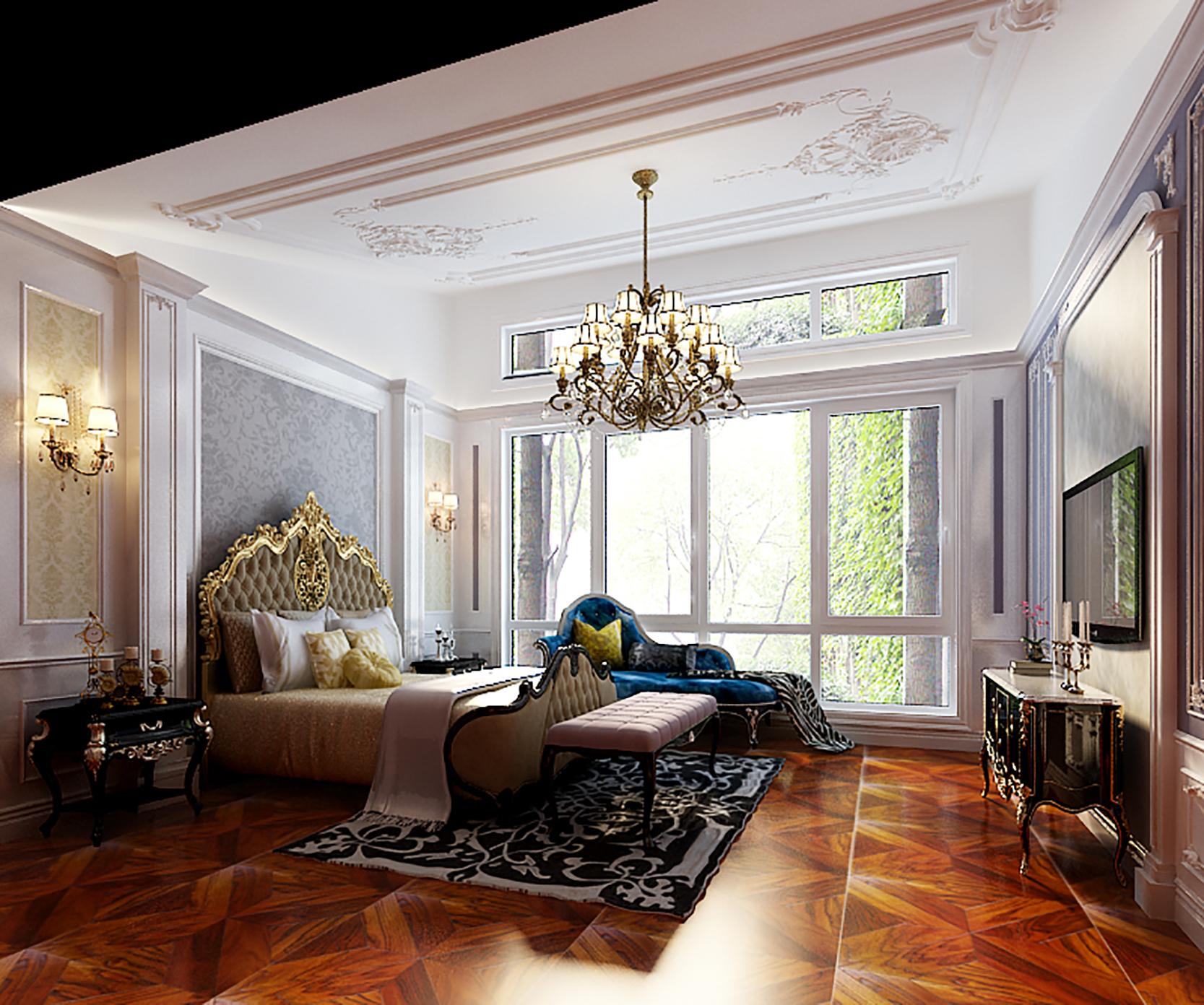 法式别墅装修卧室装饰摆件_齐家网装修效果图图片