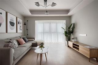 一字型北欧风格装修客厅效果图