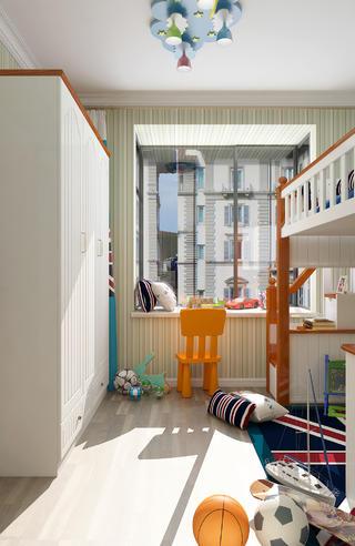 二居室混搭風格家兒童房飄窗設計