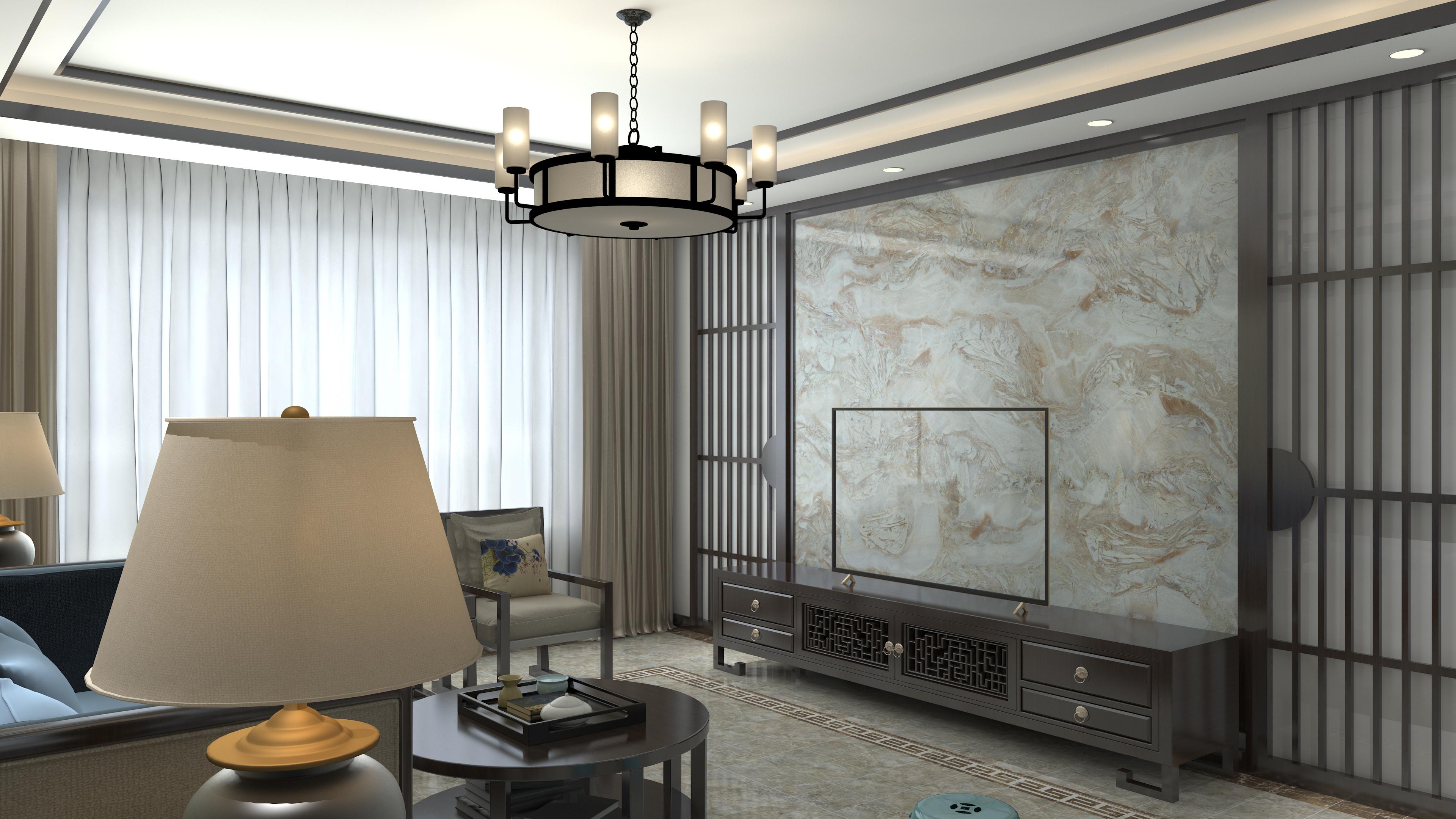 中式风格大气电视背景墙设计图纸