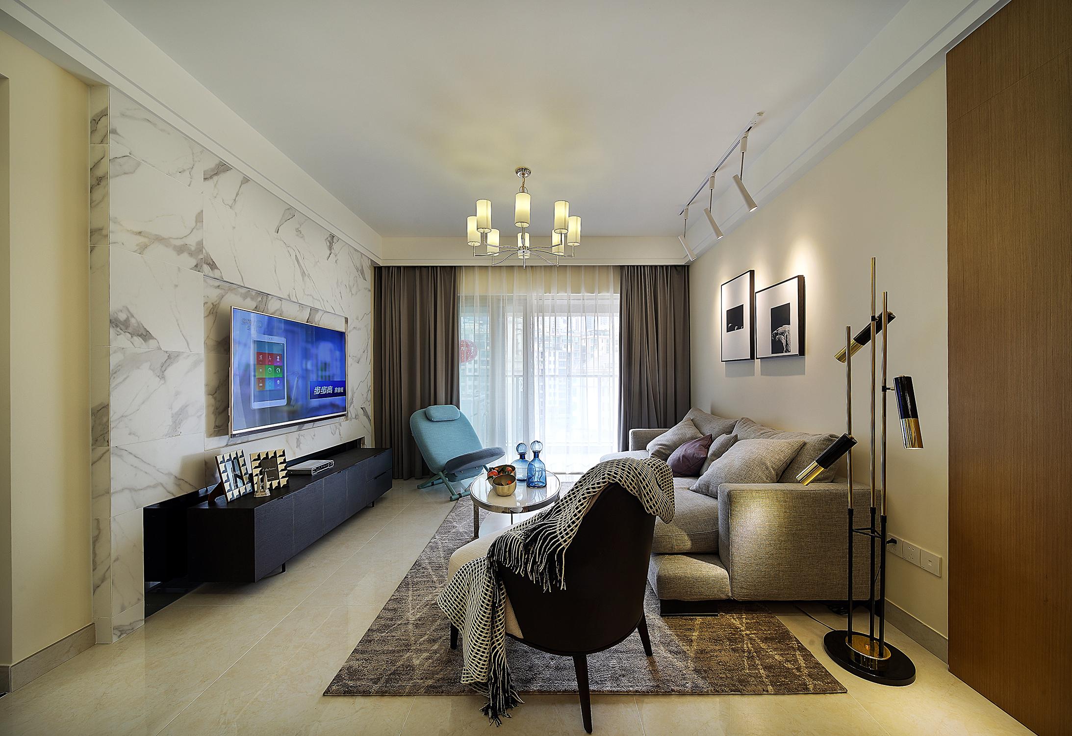 三居室现代风格装修客厅效果图