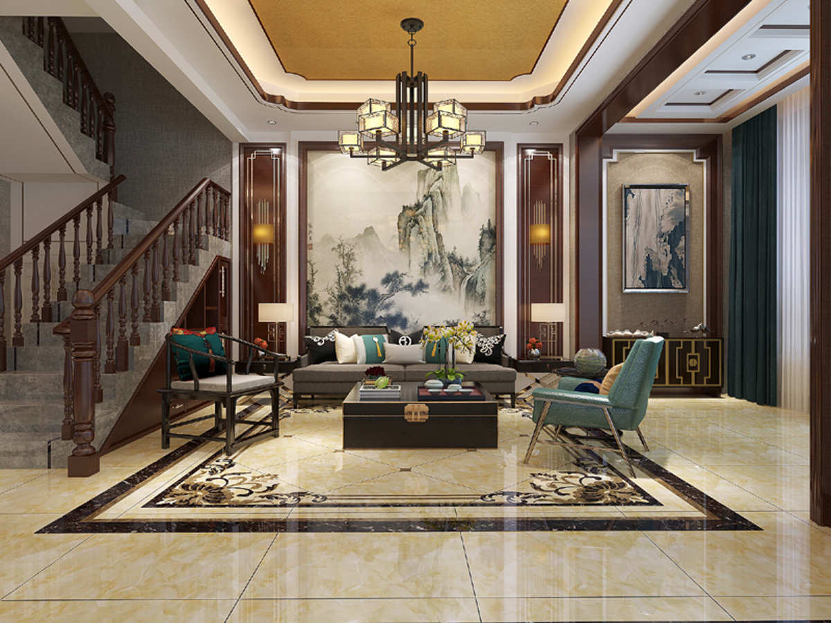 唯美新中式欧式客厅混搭沙发背景墙装饰