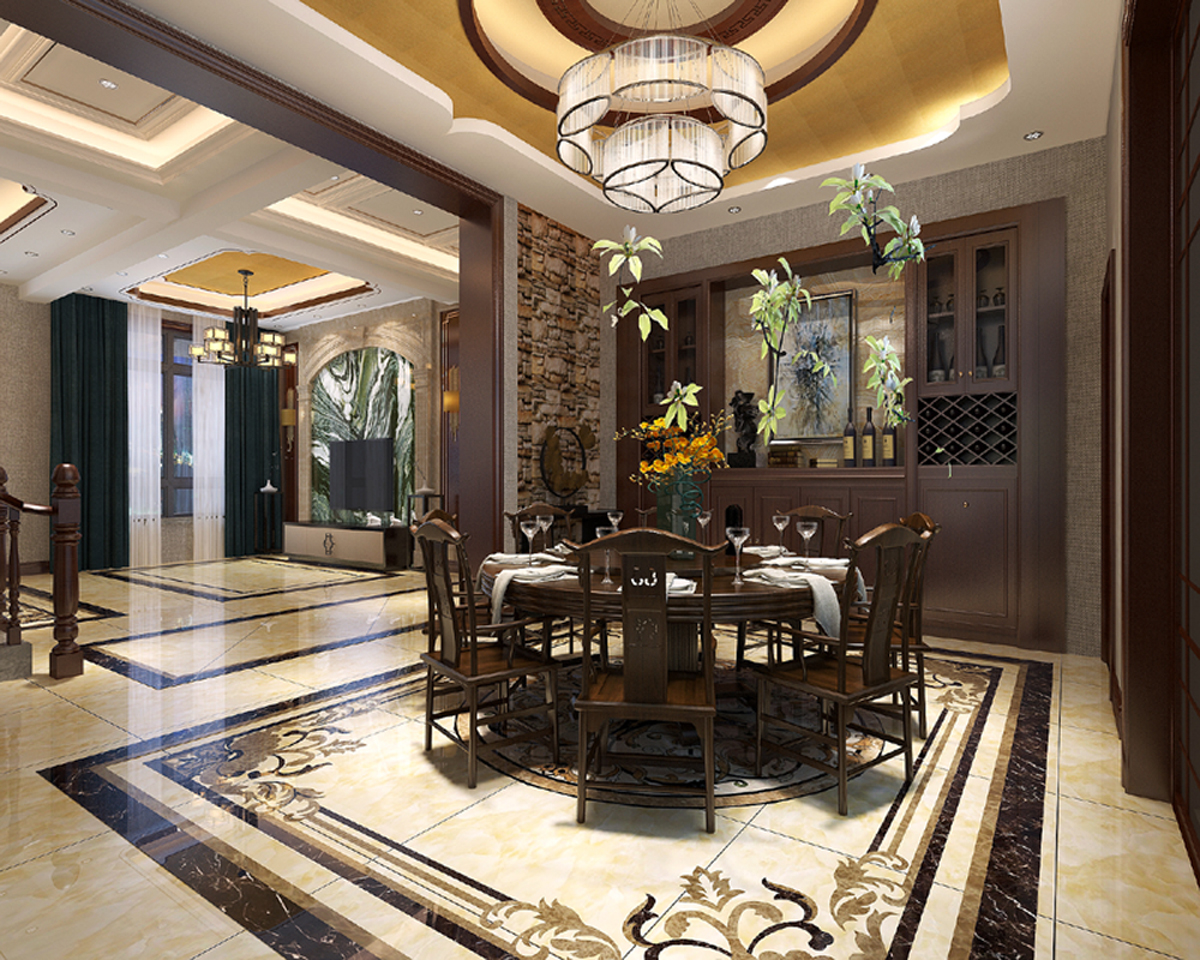 新中式复式装修客餐厅效果图