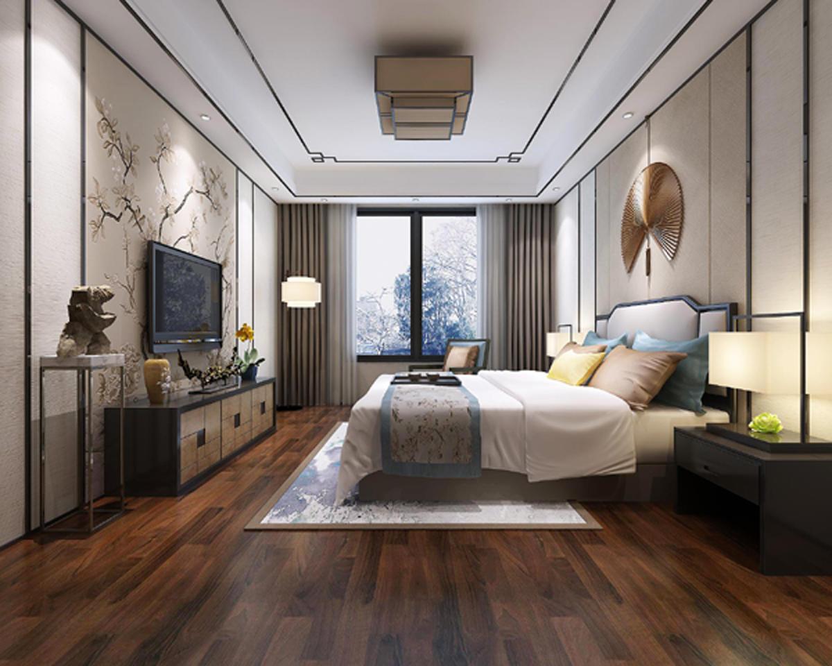 新中式风格,顶面以金属条作为收边,整体以简洁大为为主,搭配木地板