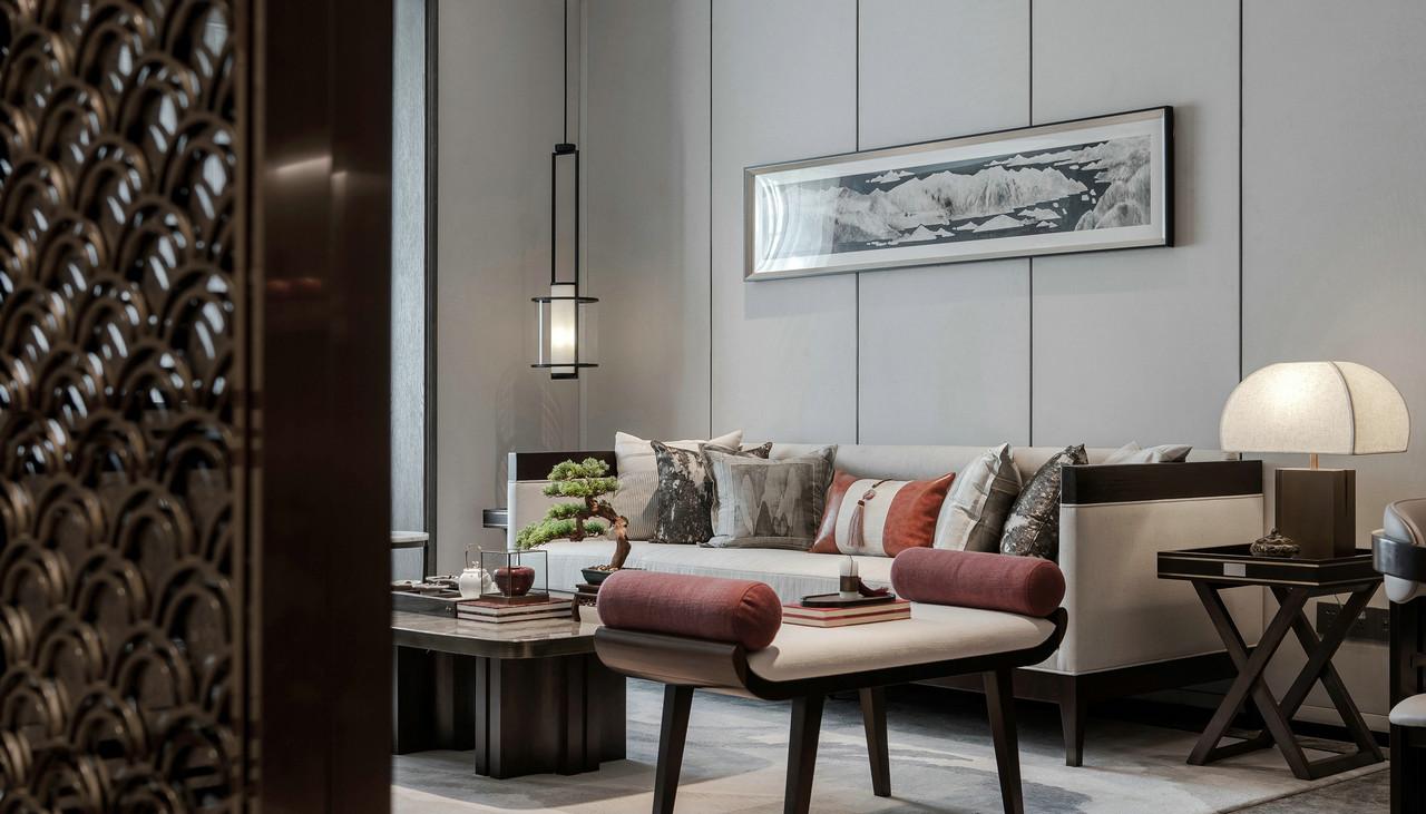 新中式风格沙发背景墙装修效果图