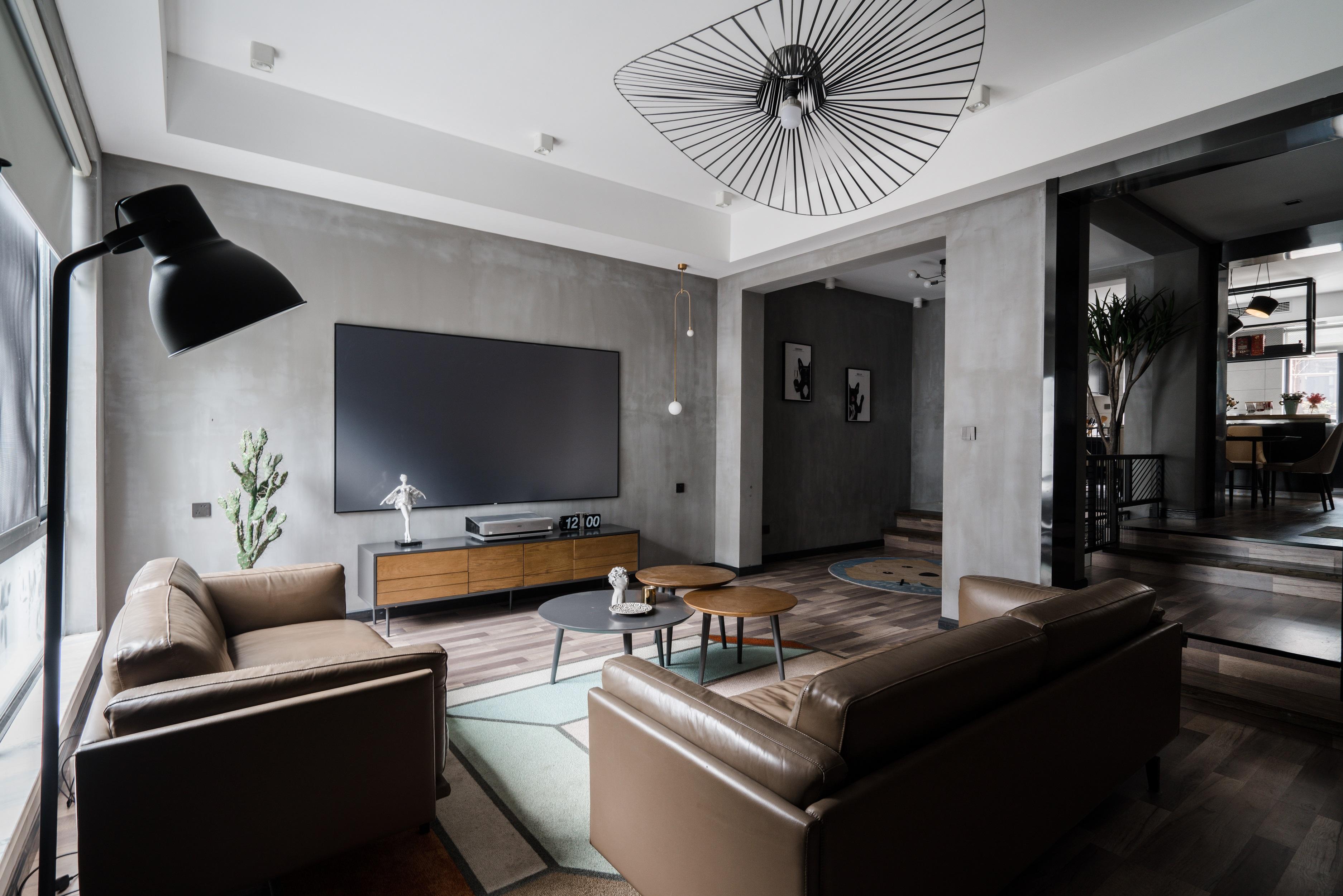 120㎡现代简约电视背景墙装修效果图