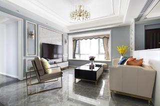 140㎡美式轻奢四居客厅装修效果图