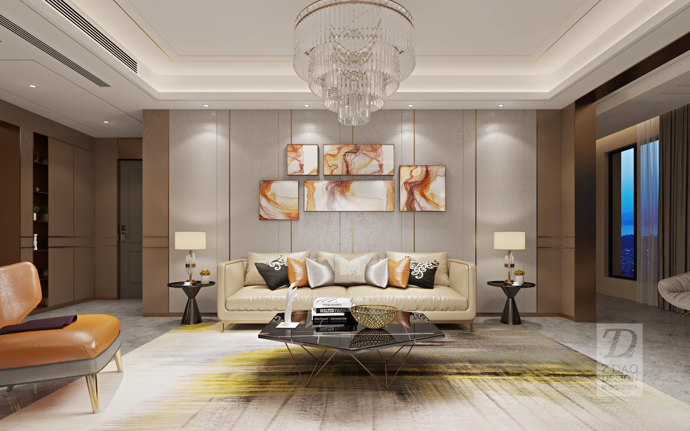 140平现代轻奢风客厅装修效果图图片
