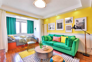 69平简约风公寓沙发背景墙装修效果图