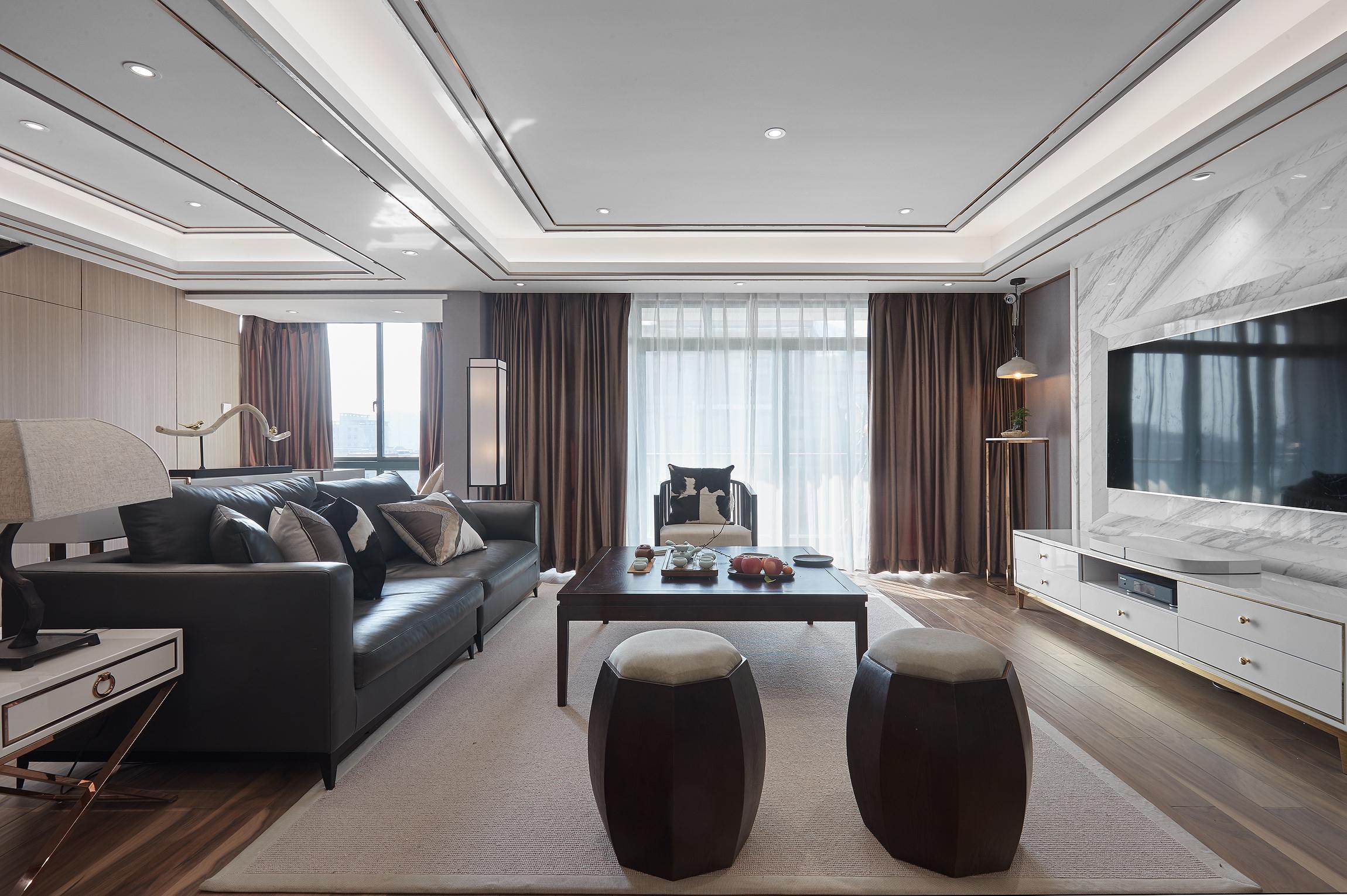 120平現代中式風格客廳裝修效果圖
