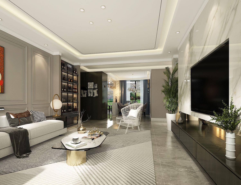 在这幅韩式田园客厅装修效果图中,客厅样板房中最大的