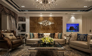 大户型现代奢华装修客厅效果图