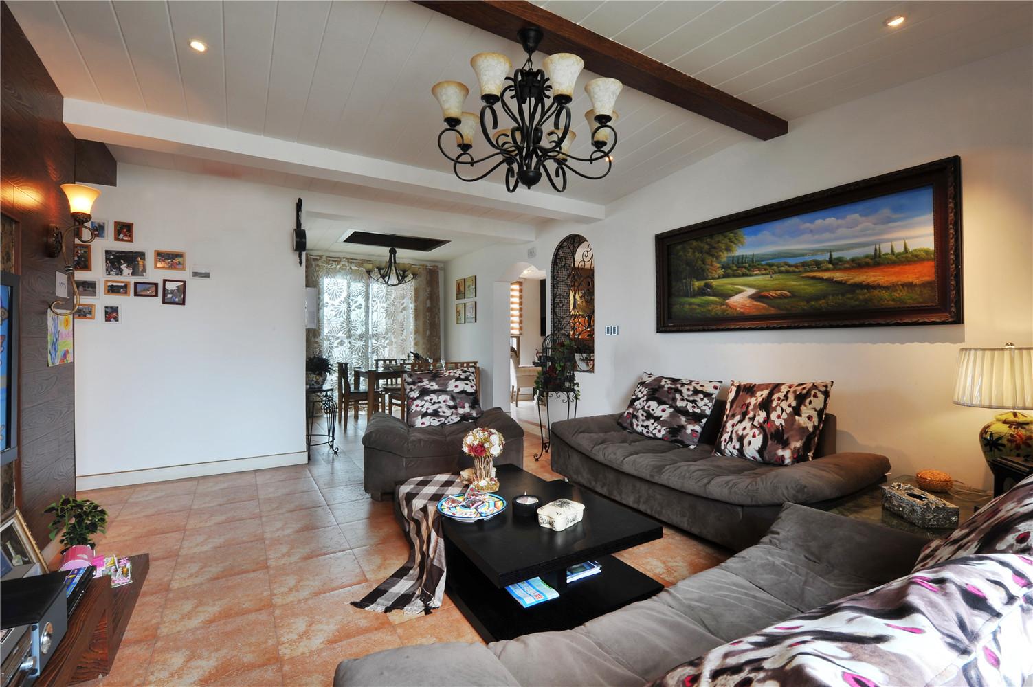 美式混搭装修沙发背景墙图片