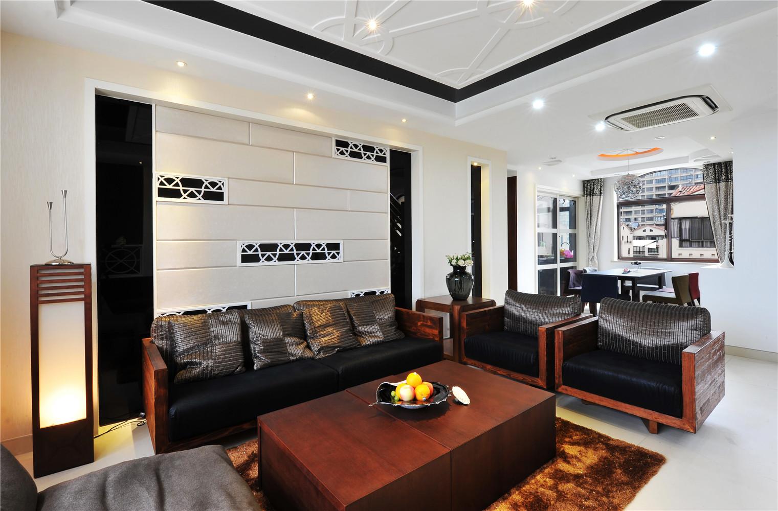 现代中式风格装修沙发背景墙图片