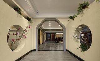 中式风格会所装修过道设计