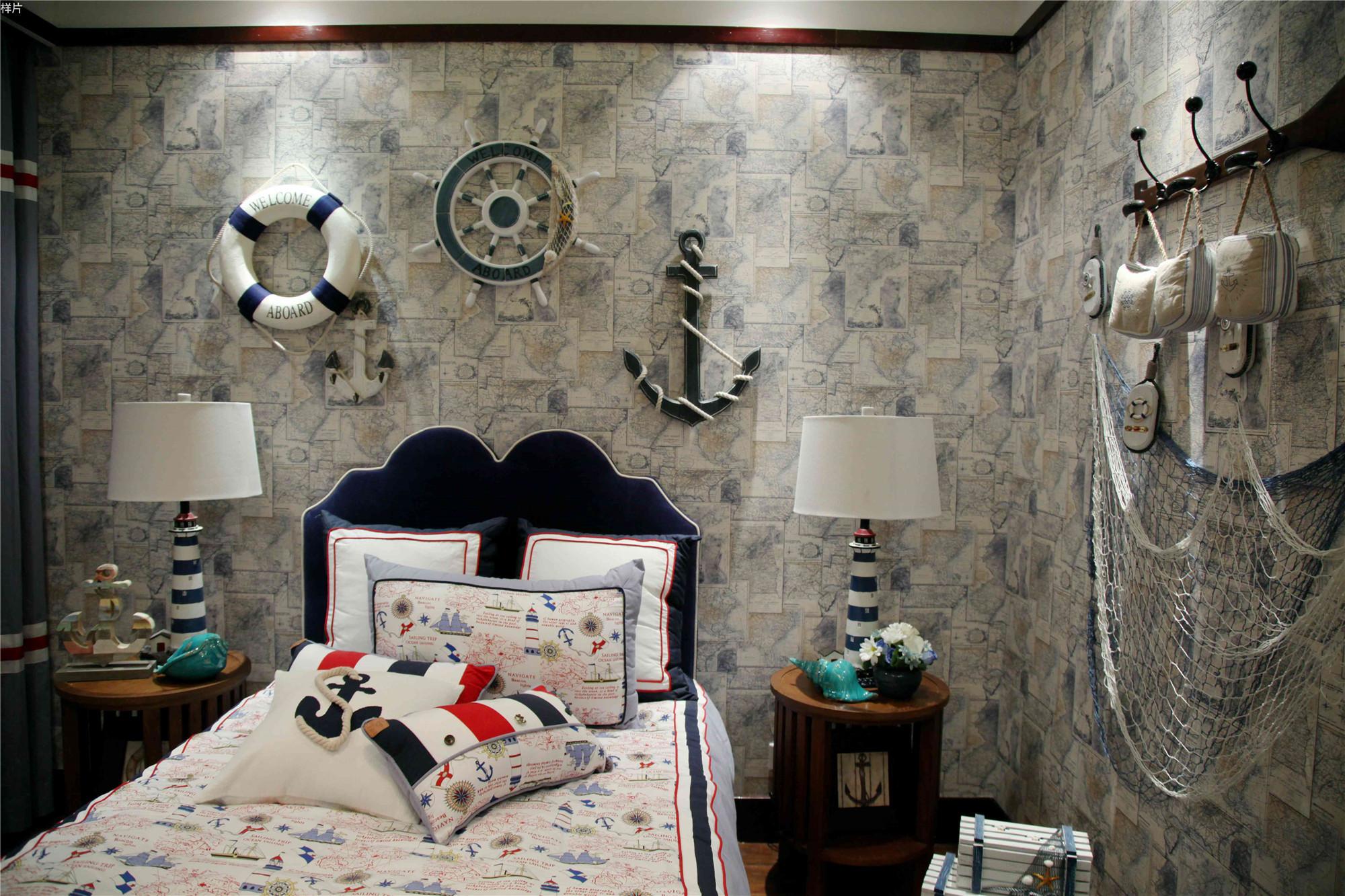 东南亚风格三居室卧室背景墙图片
