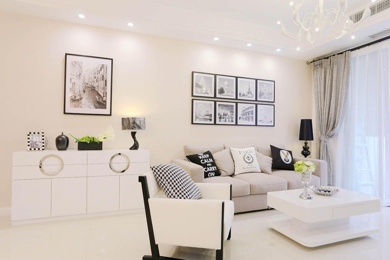 现代简约二居沙发背景墙图片