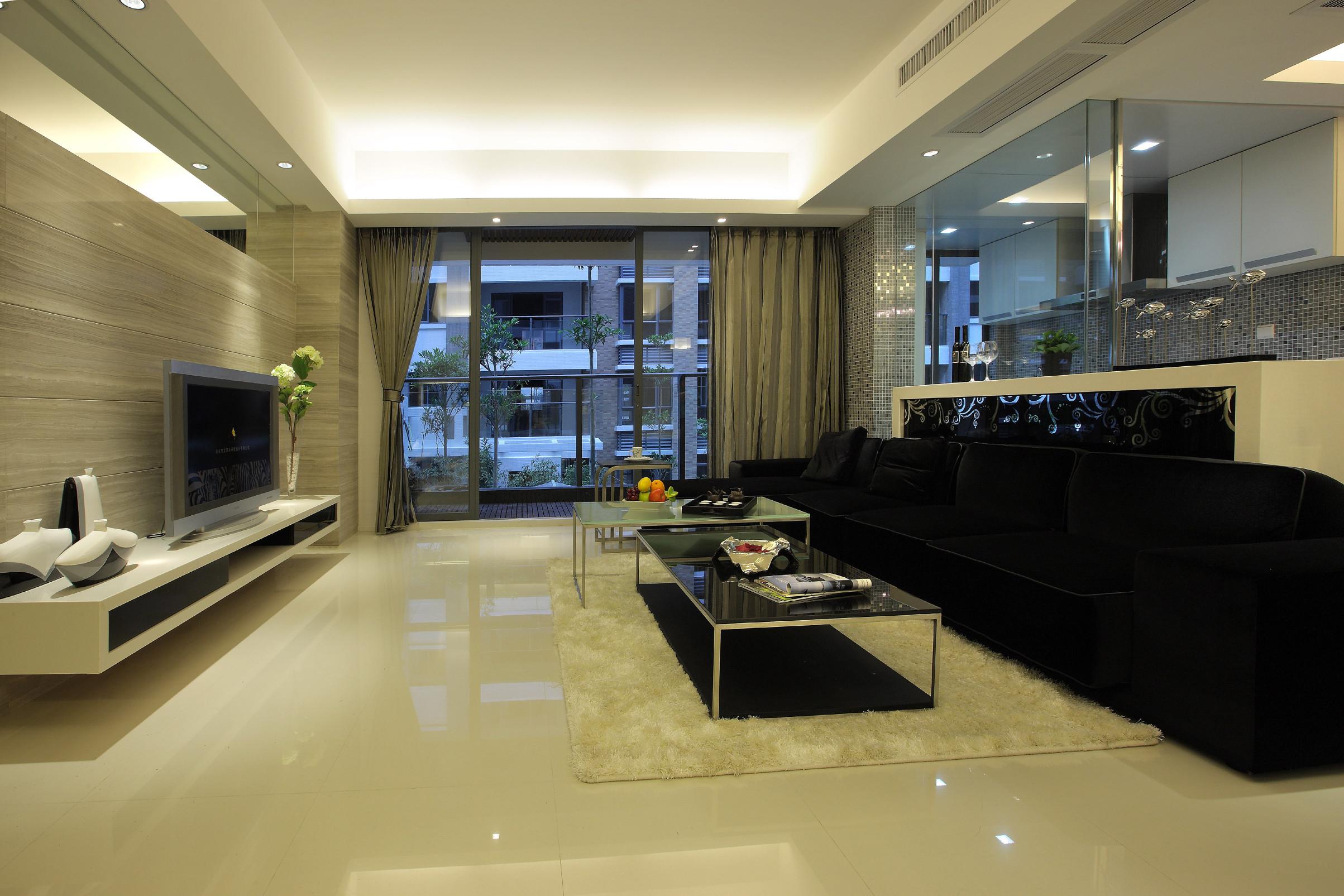 黑白灰简约二居装修客厅设计图