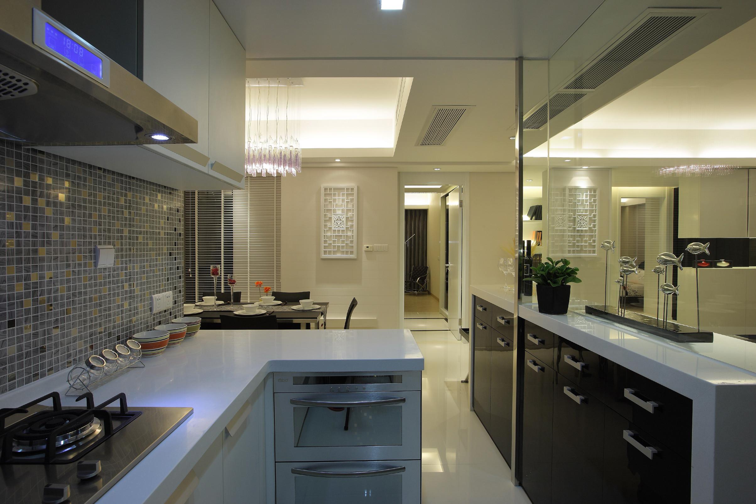 黑白灰简约二居装修厨房设计图