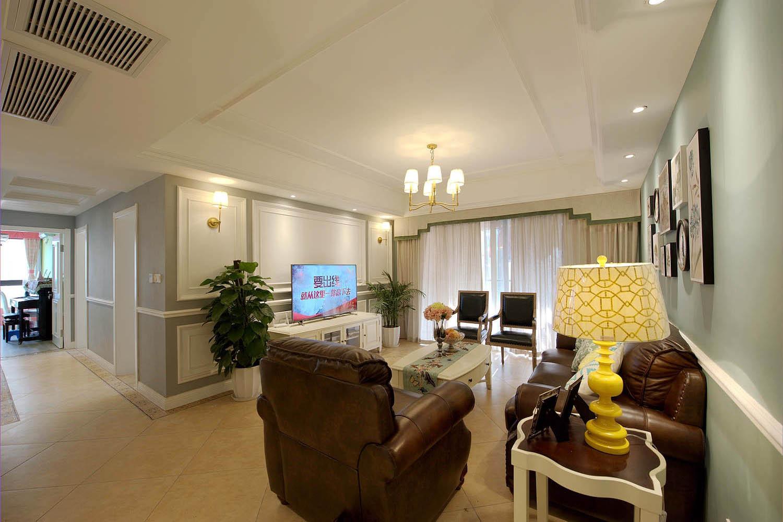 110平现代美式三居装修电视背景墙图片